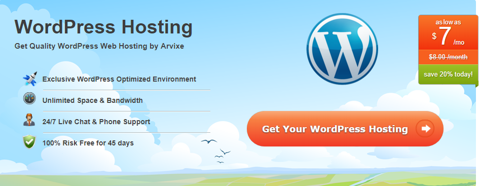 Arvixe WordPress Hosting Plan