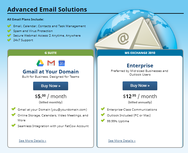 Fatcow Email Hosting Plan