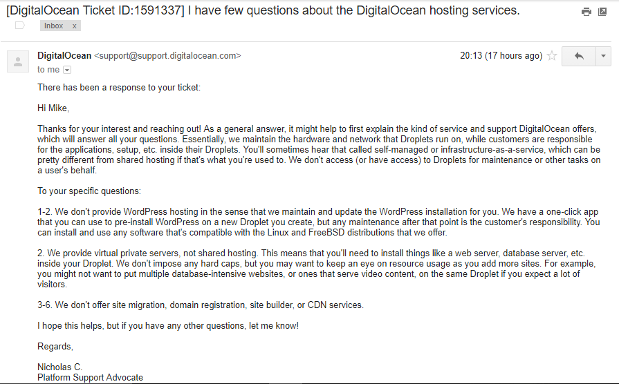 DigitalOcean Email Support