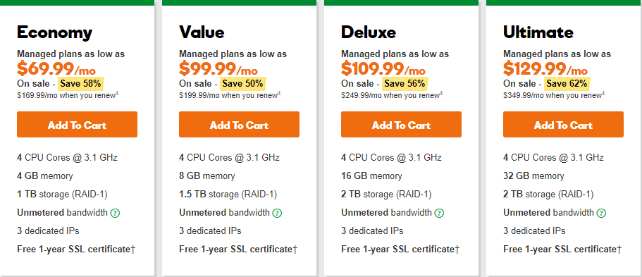 GoDaddy Linux Dedicated Hosting Plan