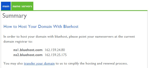 Bluehost Nameservers