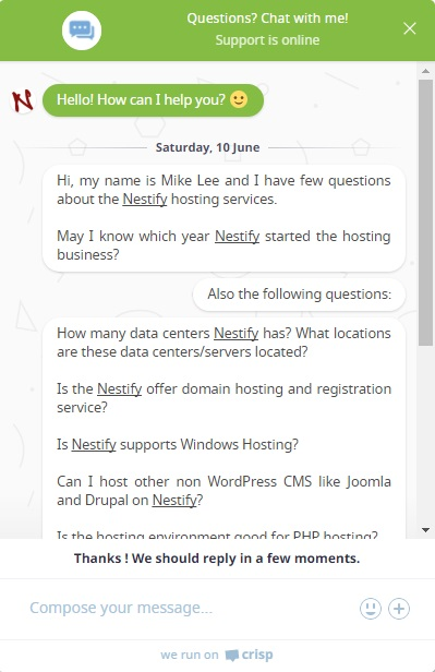 Nestify Live Chat Support