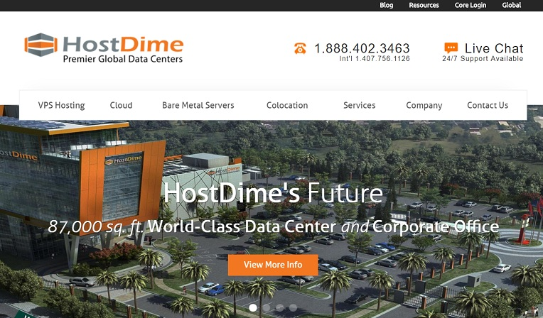 HostDime Homepage