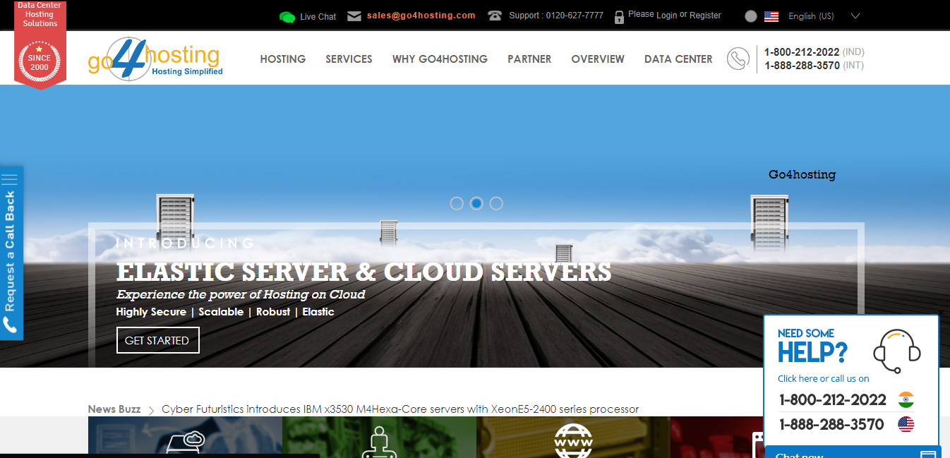 Go4hosting homepage