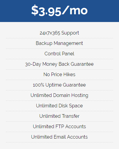 NetHosting shared hosting plan