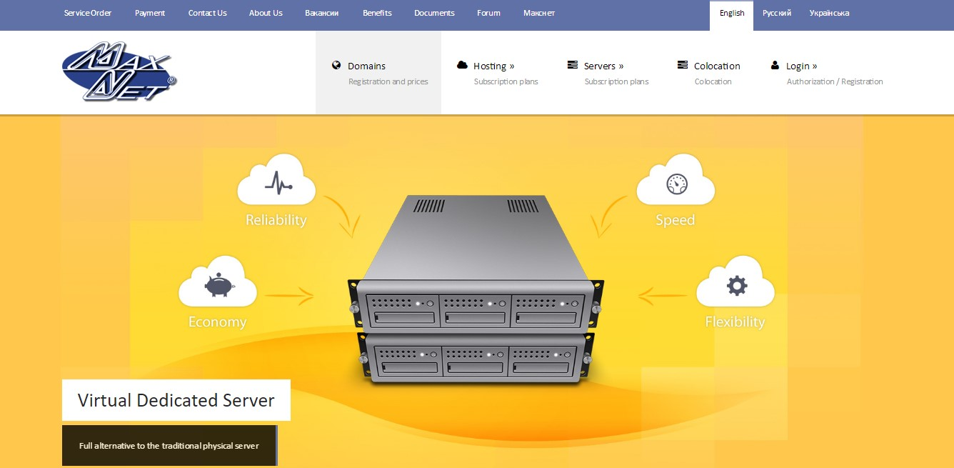 Prohost Maxnet-Homepage