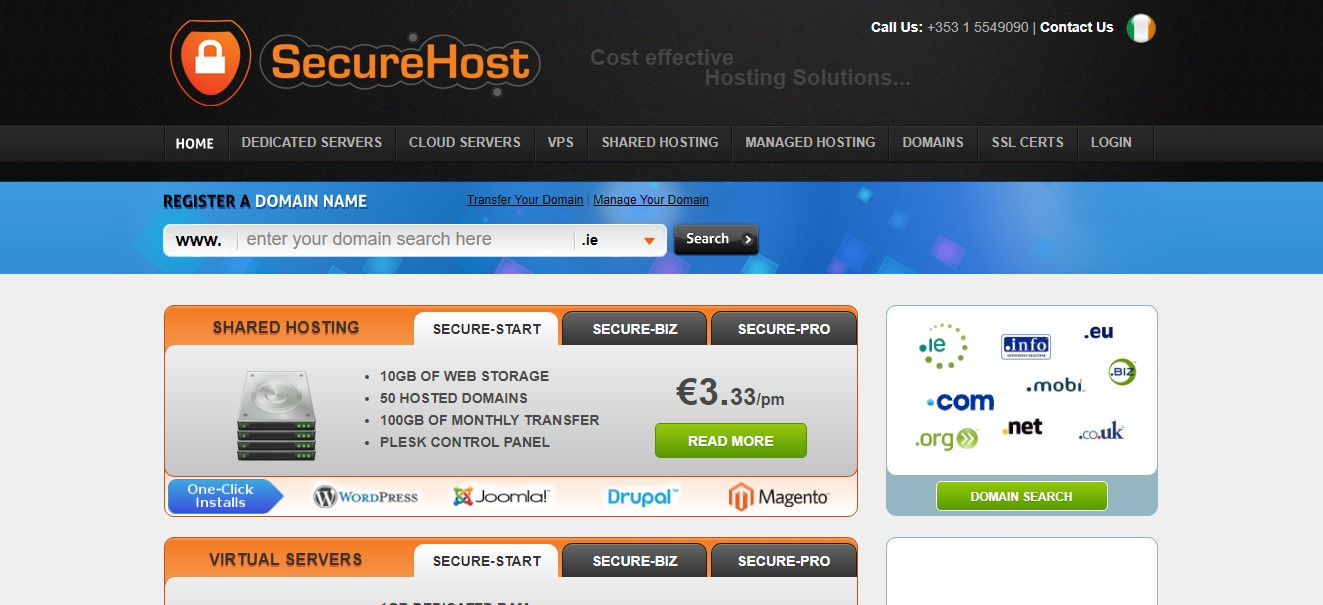 SecureHost-Homepage