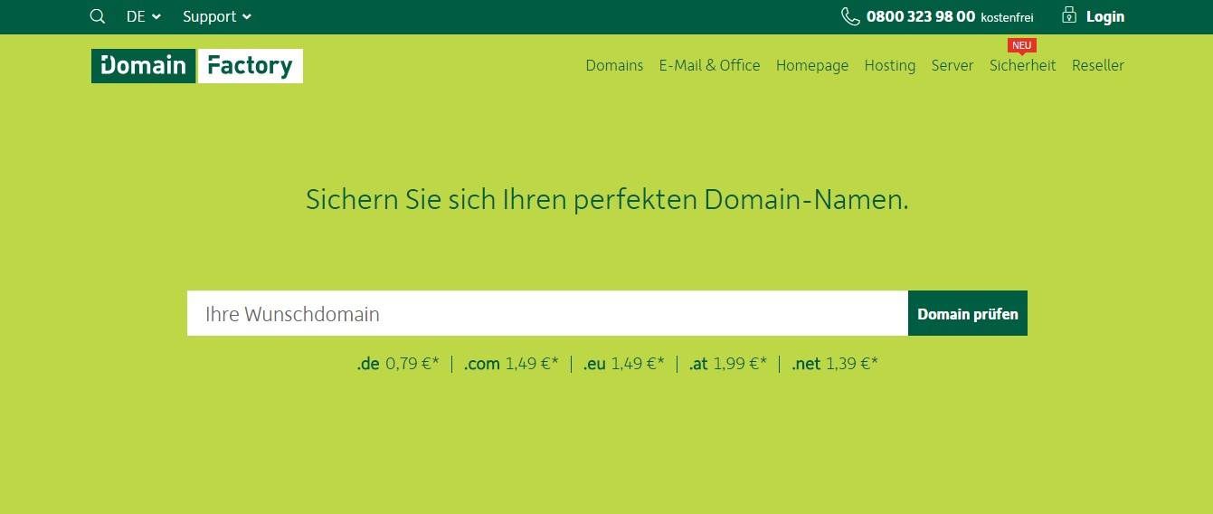 Domain Factory-Homepage