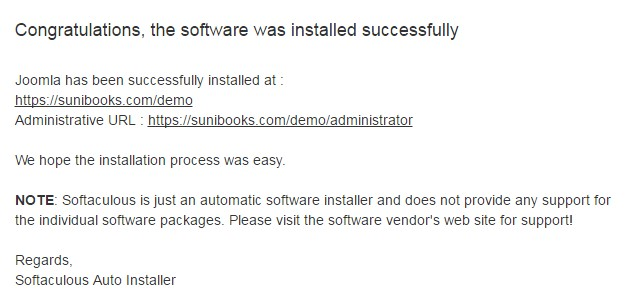 Joomla Installation Successful