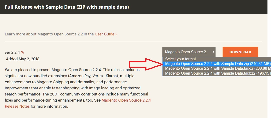 Download Magento Installation File