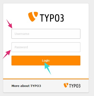 Login to TYPO3 admin panel