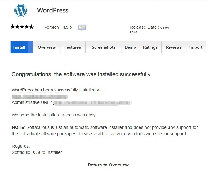 WordPress successfully installed