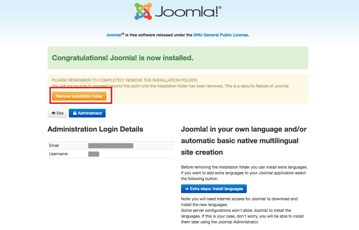 Joomla Remove Installation Folder