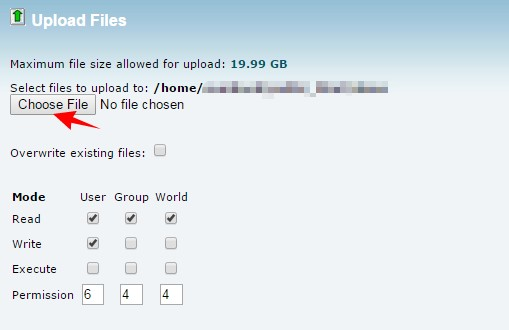 SiteGround cPanel Choose Upload Files