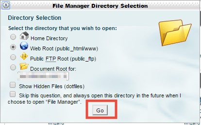 SiteGround File Manager Pop Up
