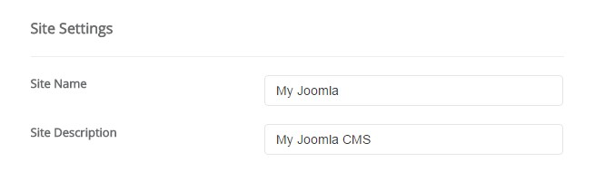 Joomla Site Settings