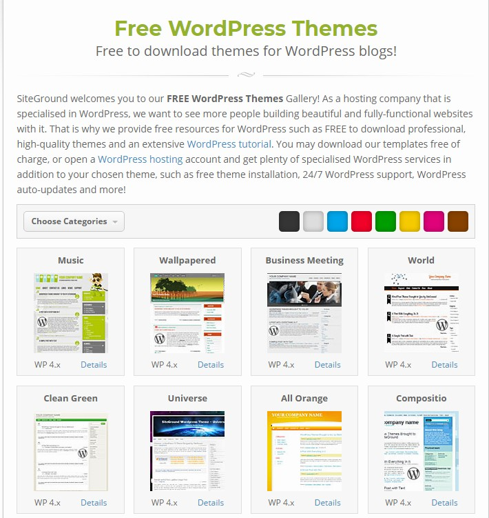 SiteGround free themes