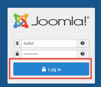 Log in to the Joomla dashboard