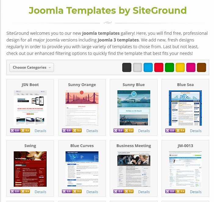 Joomla template from SiteGround