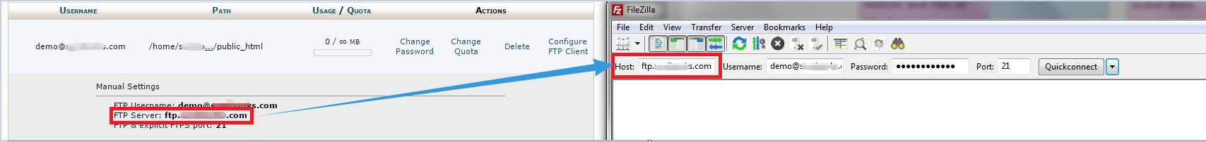 'Host' will be the 'FTP Server'