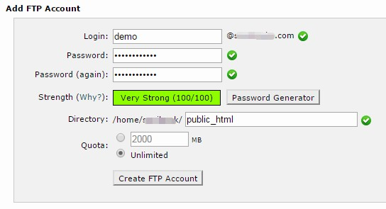 'Add FTP Account' section