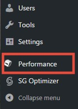 'Performance' option