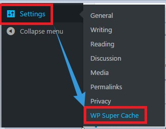 'WP Super Cache' option