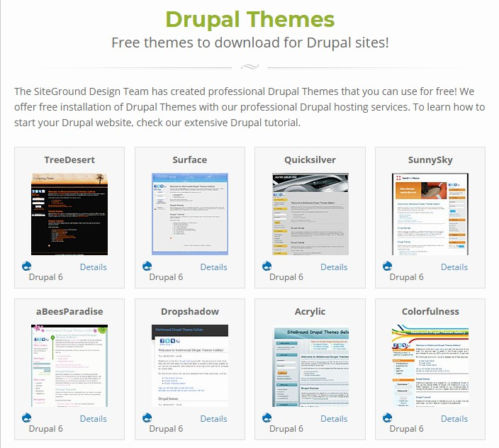 SiteGround Drupal themes