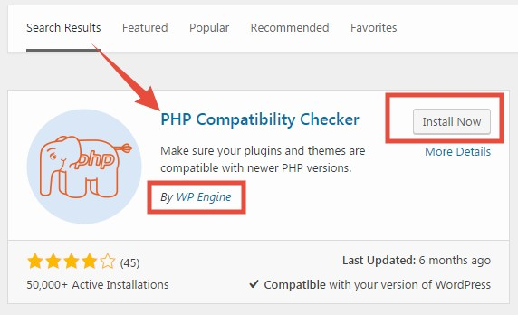 'PHP Compatibility Checker' Plugin