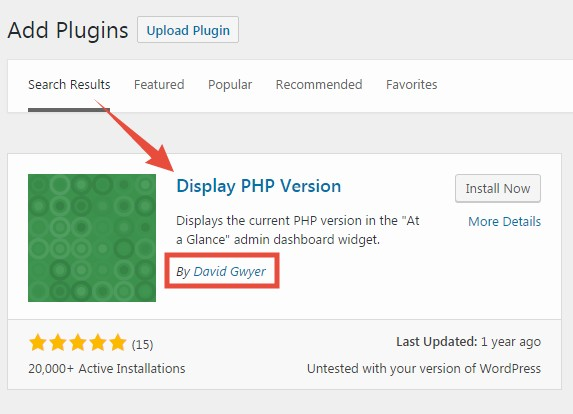 'Display PHP Version' found
