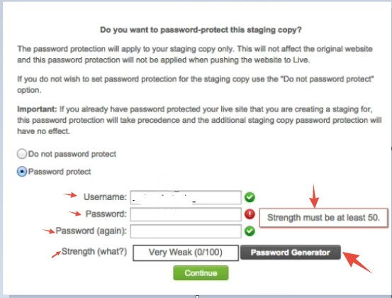 Enter a username, password