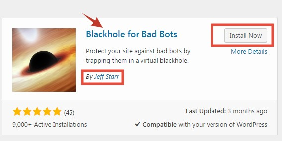 'Blackhole for Bad Bots' plugin