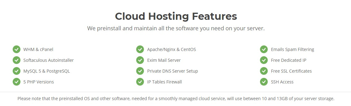 Features of SiteGround cloud hosting plan