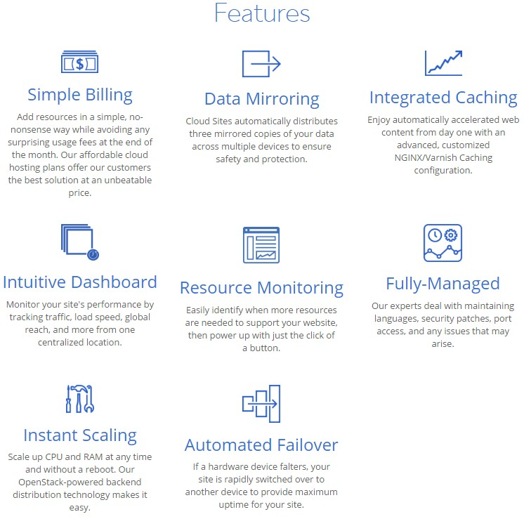 Features of Bluehost Cloud Hosting