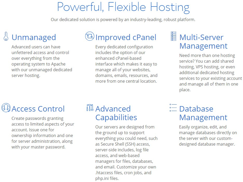 Features of Dedicated Hosting of Bluehost