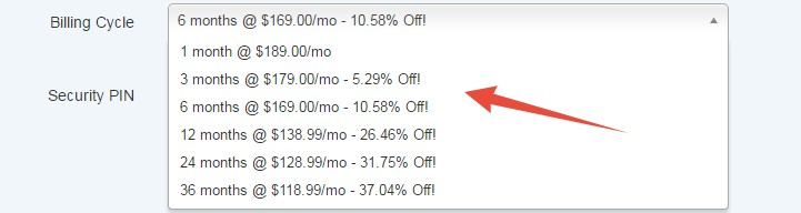 Discount on longer billing cycle