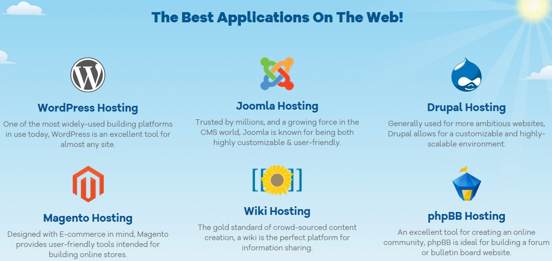 HostGator supports all major web applications