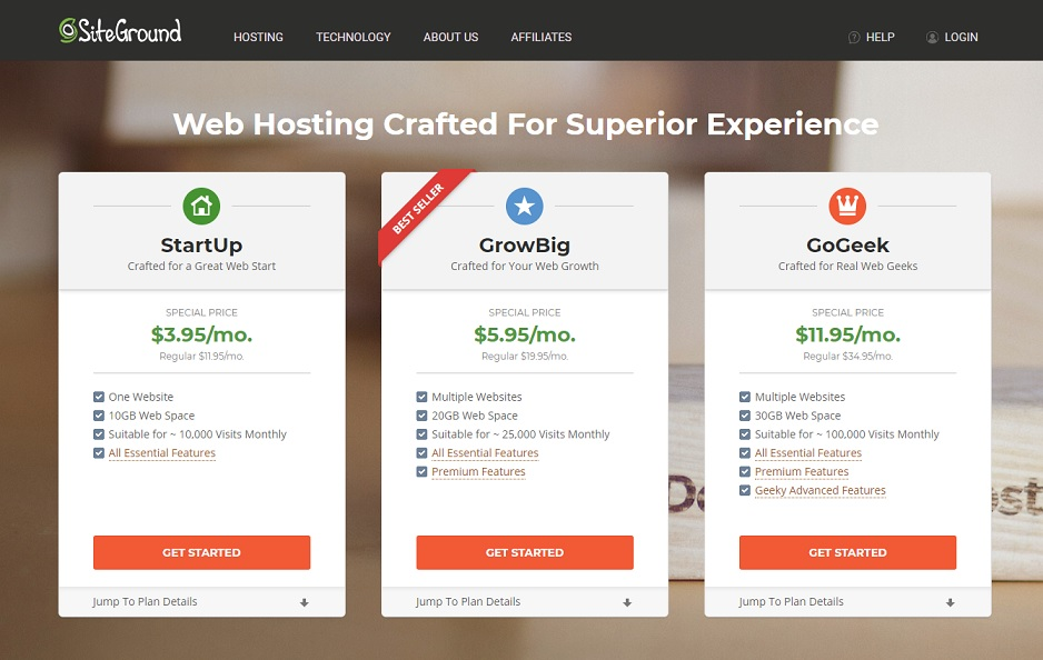 Hosting Siteground  Price Worldwide