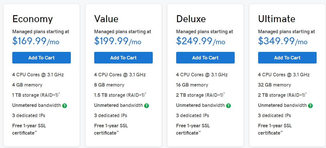GoDaddy Linux Dedicated Hosting Plans