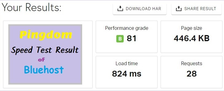 Pingdom Speed Test Result
