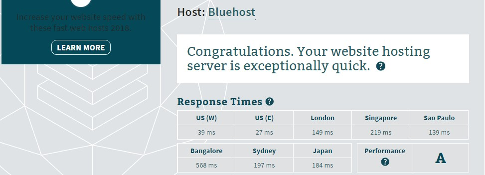 Server Response Test Result Bluehost