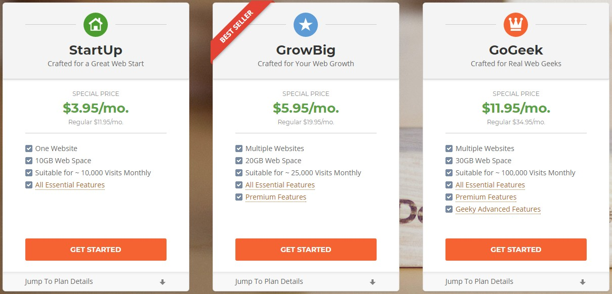SiteGround shared hosting packages
