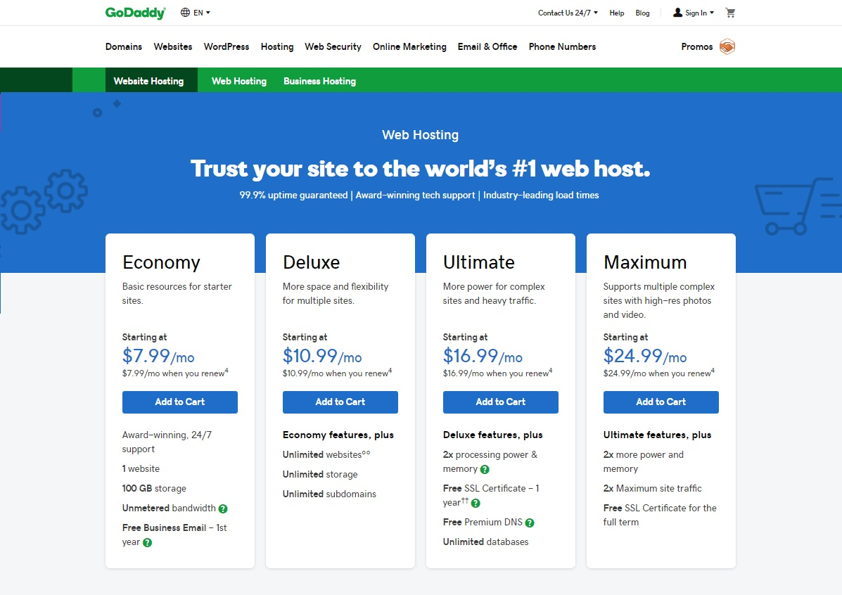 GoDaddy Shared Hosting Review 2020 (Economy, Deluxe ...