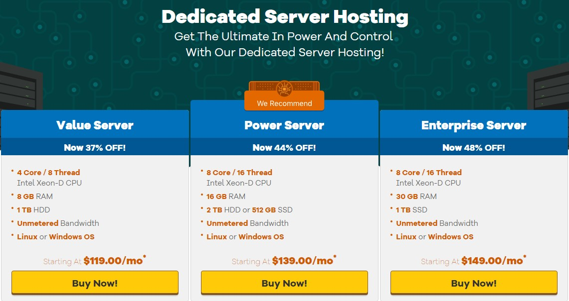HostGator's Dedicated Hosting packs