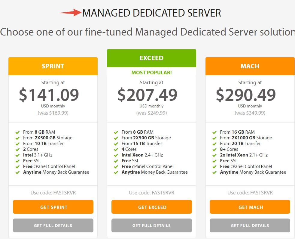 A2 Hosting's Dedicated Hosting packs