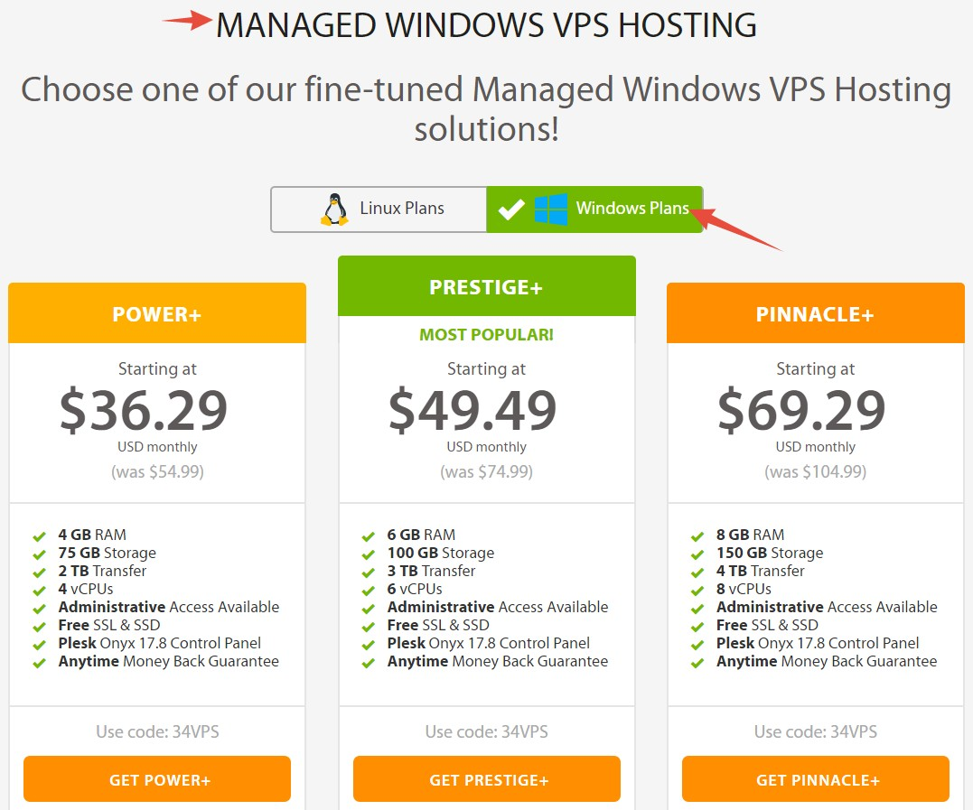 Windows VPS Hosting plans A2 Hosting