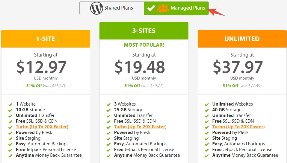 WordPress Hosting plans A2 Hosting (Managed)