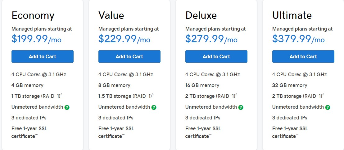 GoDaddy Dedicated Hosting Linux packages