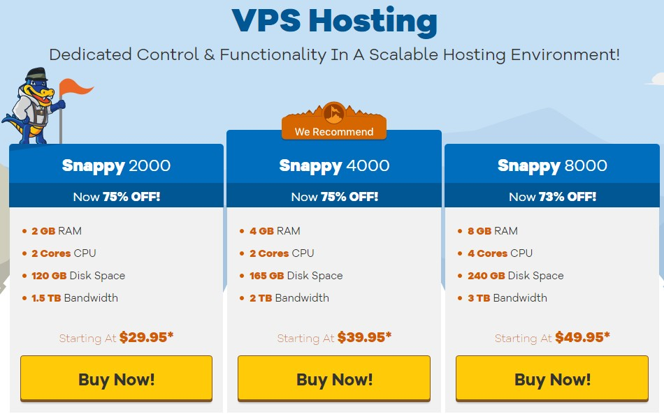 VPS Hosting packages of HostGator