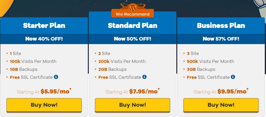 HostGator's WordPress Hosting packages